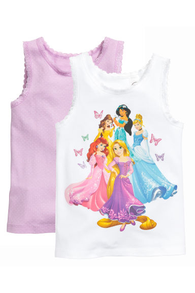 2-pack tops - White/Disney Princesses - Kids | H&M CN 1